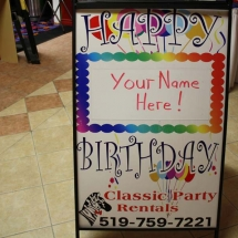 HAPPY B-DAY SIGN SANDWICH BOARD
