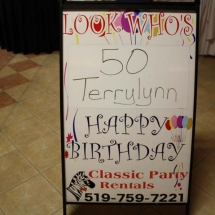 LOOK WHOS B-DAY SIGN SANDWICH BOARD
