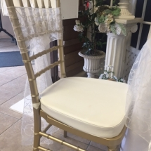 Gold Chivari Chair with Padded Ivory Cushion